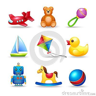 Free Baby Toys Icons Set Royalty Free Stock Photo - 40045665