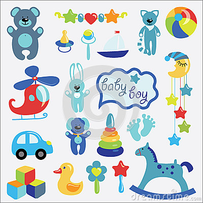 Free Baby Toys Set Collection For Little Boy Royalty Free Stock Photos - 39282738