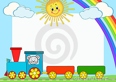 Baby train. Children photo framework.