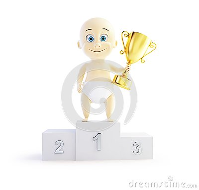 Baby trophy cup 3d Illustrations