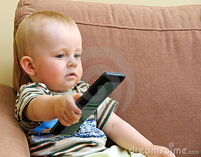 Baby and TV remote