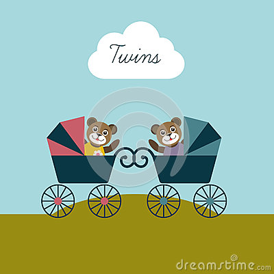 Baby twins born card. New born welcome concept. Ch