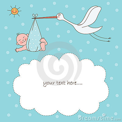 Baby und Storch