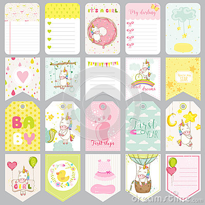 Free Baby Unicorn Tags. Baby Banners. Scrapbook Labels. Cute Cards Stock Photo - 71076020