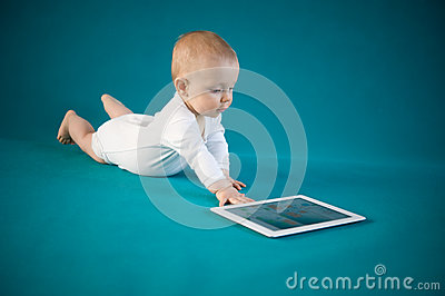 Baby using digital tablet