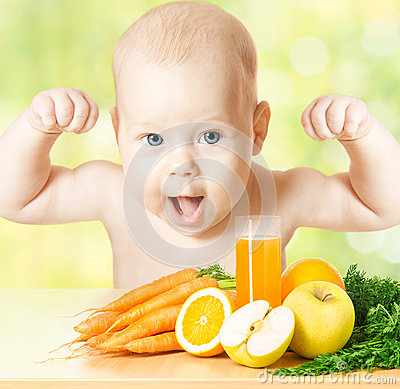 Free Baby Vitamin Fruit Juice, Strong Child Healthy Meal, Kids Vegetables Food Stock Photography - 31328342