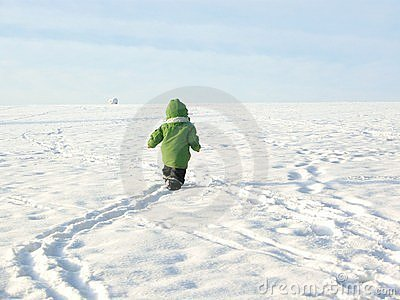 Baby walking in snow