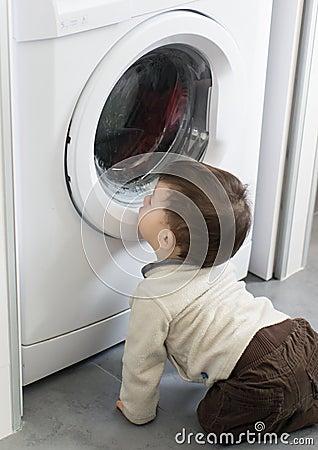 baby in washing machine