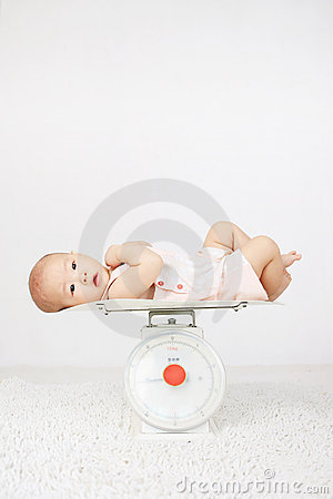 Baby on on weighing scale