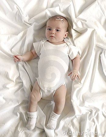 Baby on White Blanket