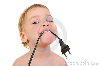 Baby with wire