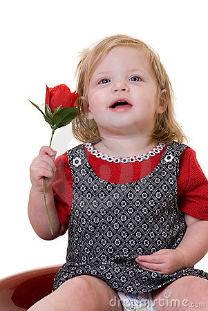 Free Baby With A Rose Stock Photography - 1983732