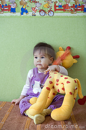 Free Baby With Giraffe Stock Images - 10562364