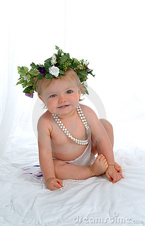 Free Baby With Pearls Royalty Free Stock Image - 6041726