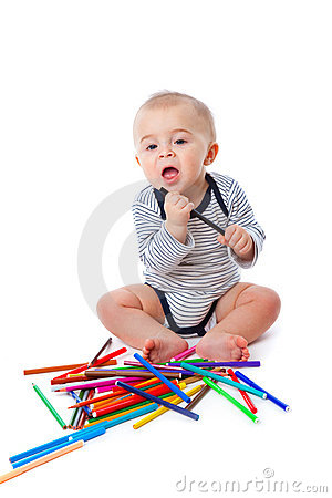 Free Baby With Pencils Stock Photos - 12808503