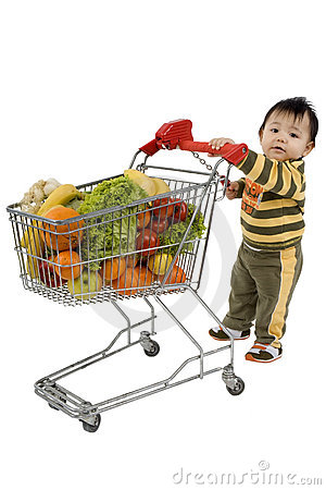 Free Baby With Shopping Cart Stock Photography - 4608912