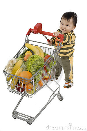 Free Baby With Shopping Cart Stock Image - 4608941