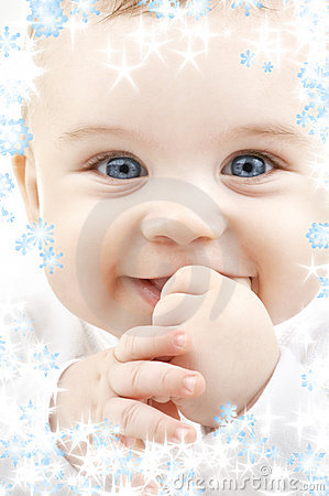 Free Baby With Snowflakes Stock Photo - 6177350