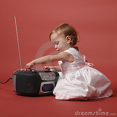 Free Baby With Stereo Radio Royalty Free Stock Image - 18001976