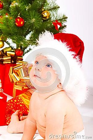 Baby in xmas hat