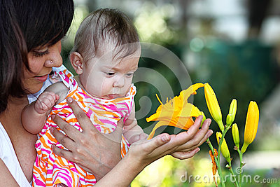 Baby and Yellow Lilly