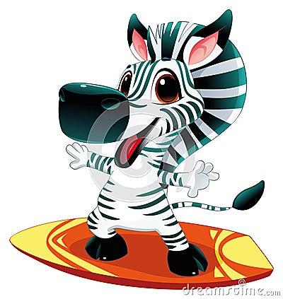 Baby zebra with surf.