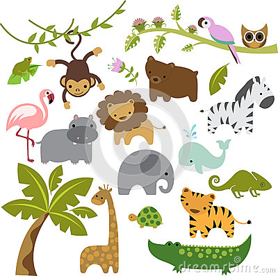 Free Baby Zoo Animals Vector Clipart Stock Photography - 54713342