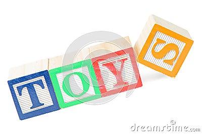 Babyblokken die speelgoed spellen