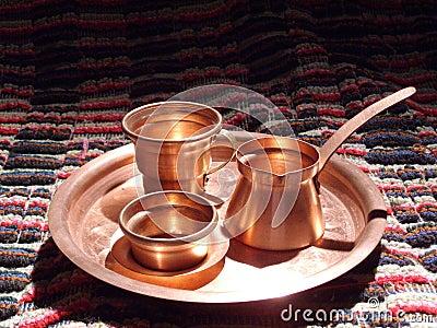 Bac de cuivre de café