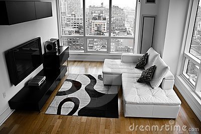 A Bachelor Pad A Modern Living Room Royalty Free Stock