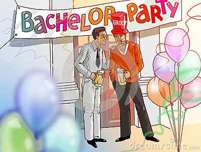 Bachelor party groom and best man drinking beer illustration