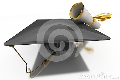 Bachelor's Hat And Diploma Stock Photos - Image: 14425553