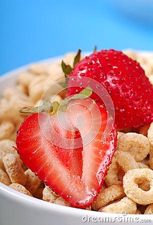 Bacia de cereal da aveia com morangos