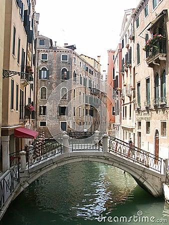 Free Back Alley And Pedestrian Bridge In Venice Italy Stock Photos - 80763