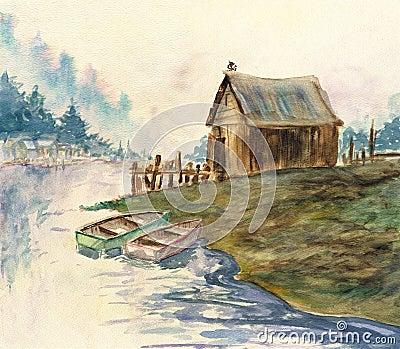 Back Bay Watercolor