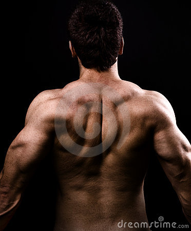 Back big healthy man muscles naked