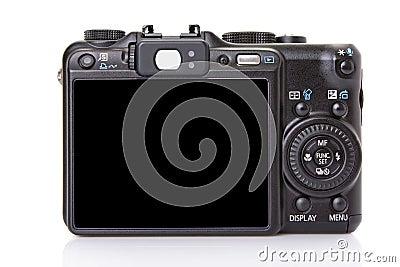 Back of black digital compact camera