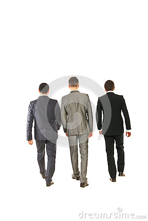 Back of business men walking