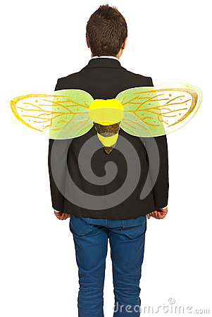 Back of businessman busy like a bee