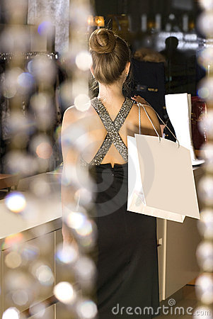Back of lady in the boutique