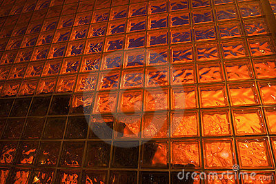 Back lit glass block wall