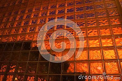 Back lit glass block wall