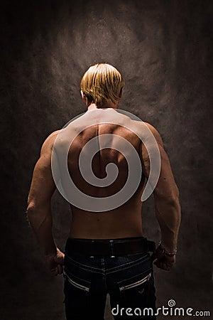Back of male bodybuilder