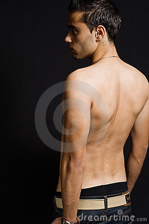 Back of masculine sexy man