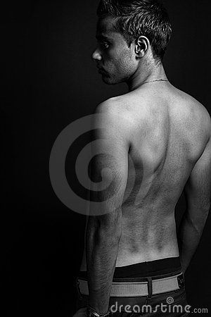 Back of masculine sexy shirtless man