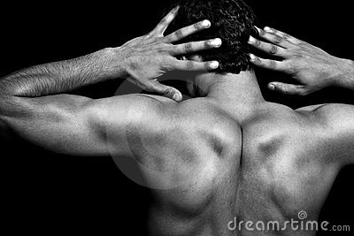 Back of muscular athletic young man