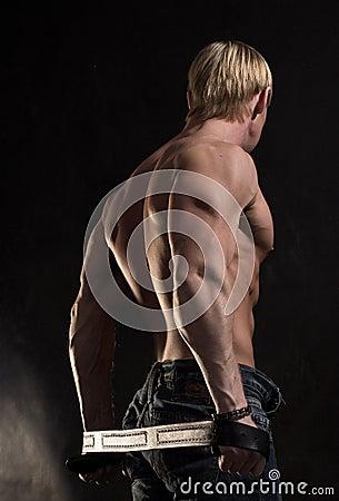 Back of muscular bodybuilder