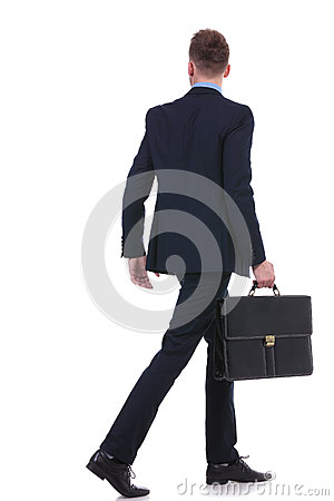 Free Back Of A Business Man With Suitcase Walking Away Royalty Free Stock Images - 31846139