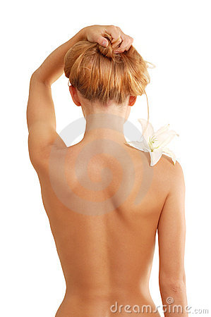 Free Back Of Nude Beautiful Girl With Flower Stock Image - 16193151