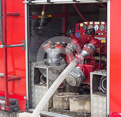Free Back Of The Fire Truck, Hoses And Equipment, Red Fire Engine, Special Equipment And Hydrants Royalty Free Stock Photography - 122416367